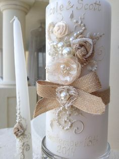 Hey, I found this really awesome Etsy listing at https://www.etsy.com/listing/218070168/rustic-chic-wedding-unity-candle-set-3