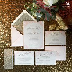 Glitzy Glamour Blush + Glitter Gold Invitations by Femina Photo + Design (www.feminaphoto.com) Gold Invitations, Custom Wedding Invitations, Philadelphia Wedding, Gold Glitter, Custom Design, Groom, Blush, Gift Wrapping, Wedding Photography