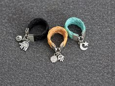 Leather Ring Wire ring statement ring stone ring by ChokerNecklace, $7.90