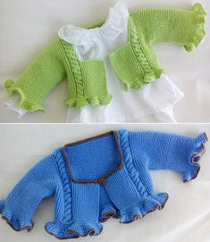 Free Knitting Pattern for Fiesta Baby Shrug - Cabled short cardigan with ruffles at cuffs and hem. Sizes 0-3 months and 3-6 months. Fingering weight yarn. Designed by Verde Celadon