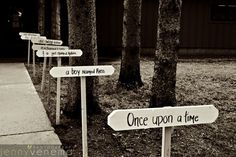 Wedding Entrance, and then at ceremony site have sign say, Happily ever after starts here