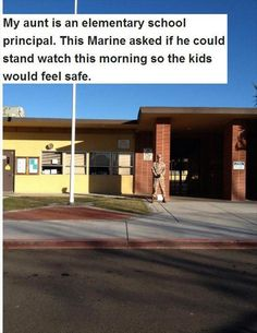 Fathers Stand Guard Outside Kids' Schools After Newtown Shooting. Two protective fathers on opposite sides of the country donned their uniforms -- one military, one police -- for off-duty appearances as they accompanied their children to school and stood guard outside the school building this week to help them and other students feel safe.