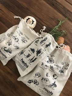 Alternative To Plastic Bags, Produce Bags, Reusable Bags, Screen Printing, Needlework, Sewing Projects, Creations, Textiles, Crafty