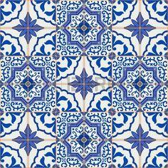 Modelo magnífico mosaico sin fisuras desde el azul oscuro y blanco marroquí, azulejos portugueses, azulejos, adornos. Puede ser utilizado para el papel pintado, patrones de relleno, de fondo página web texturas de la superficie.