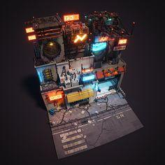 A cyberpunk scene I made in MagicaVoxel. Cyberpunk City, Sci Fi Environment, Environment Design, Space Opera, 3d Pixel, Isometric Art, Pixel Art Games, Game Concept Art, 3d Artwork