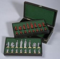 Art Deco Aluminum Chess Set designed by Victor F. Von Lossberg, manufactured by Edward F. Caldwell and Co. Von Lossberg's set was exhibited at the Architectural League's 49th Annual Exhibition in 1934