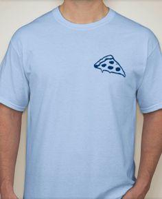 GOD IS PIZZA Sky Blue T Shirt