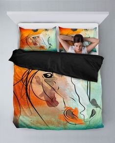 Watercolor Horse Duvet Set