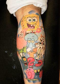 Cute & Funny Cartoon Tattoo Ideas - Page 112 of 200 - CoCohots Dope Tattoos, Unique Tattoos, Tatoos, Tattoo Sketches, Tattoo Drawings, Back Tattoo, I Tattoo, Spongebob Tattoo, Ink Master Tattoos