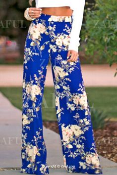 Full Floral Wide Leg Exumas Pants BLUE: Pants | ZAFUL