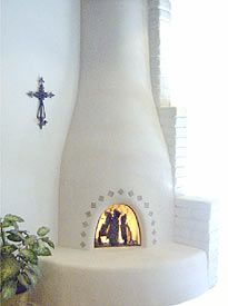Kiva fireplaces, Adobe style fireplaces, beehive or southwestern style.like at the Picuris Pueblo in NM Adobe Fireplace, Bedroom Fireplace, Fireplace Design, Adobe House, Rustic Fireplaces, Hacienda Style, Southwest Style, Spanish Style, Interior And Exterior