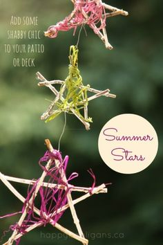 Summer craft: Kids can make these shabby chic stars from sticks and yarn.