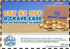 White Castle: $3 off a Crave Case of 30 Original Sliders (Exp. 04/28/12)