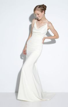 Tara, sheath, spaghetti straps, straps, cowl neck, silk, crepe, low back, Madeleine's Daughter Bridal Inventory