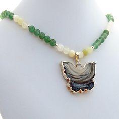 Druzy Butterfly Aventurine Quartz Handmade Designer Pendant Necklace by Rivendell Rock Jewelry, $52.00 USD