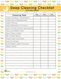 Keep your living room spotless with our living area deep cleaning printable that serves as a checklist to help you get your home ready to show off.