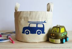 Make this fun cotton canvas storage bin. A great gift, but also cute enough that you might decide to keep it.