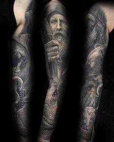 Mens Norse Odin Inspired Full Sleeve Tatttoo