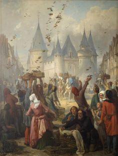 Pierre Charles Marquis   Saint-Louis accompagné de sa mère Blanche de Castille se rend à Notre-Dame   Images d'Art