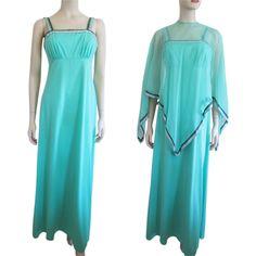 Maxi Dress Poncho Vintage 1970s Green Sun Dress Nylon Shawl Bohemian Hippie http://www.rubylane.com/item/676693-CLO94/Max78i-Dress-Poncho-Vintage-1970s-Green