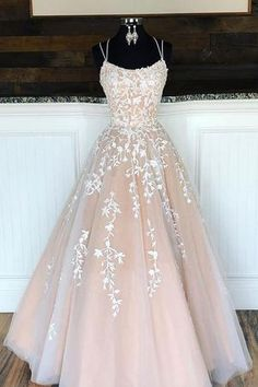 Spaghetti Straps Floor Length Prom Dress With Appliques, Long Evening Dress Lace. - - Spaghetti Straps Floor Length Prom Dress With Appliques, Long Evening Dress Lace Up Back Source by Pretty Prom Dresses, Lace Evening Dresses, Prom Party Dresses, Party Gowns, Elegant Dresses, Sexy Dresses, Dress Prom, Summer Dresses, Puffy Prom Dresses