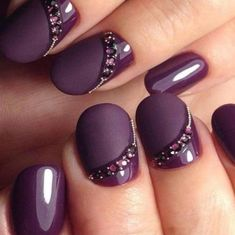 Purple Manicure, Purple Nail Art, Manicure E Pedicure, Purple Glitter, Purple Ombre, White Manicure, French Pedicure, Pedicure Ideas, Purple Marble