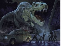 Jurassic World is one week away, and to help keep the hype machine going, some new artwork has just been unveiled from the Jurassic Park Mondo gallery show. Jurassic World Park, T Rex Jurassic Park, Jurassic Park Poster, Jurassic Park Series, Jurrassic Park, Park Art, Film Mythique, Horror, Michael Crichton