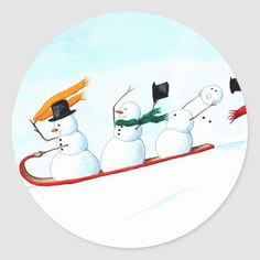 Snowmen on a Sled Classic Round Sticker Snowmen Paintings, Christmas Paintings On Canvas, Christmas Canvas, Painted Christmas Cards, Watercolor Christmas Cards, Christmas Drawing, Snowman Faces, Cute Snowman, Frosty The Snowmen