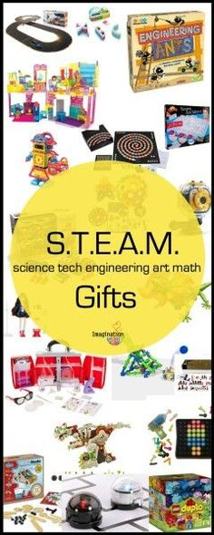 STEAM education is two or more of these subjects: science tech engineering art math. Here's an up to date list of STEAM (used to be STEM) toys and games for kids (Holiday Gift Guide 2015)