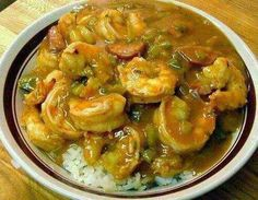 CROCKPOT GUMBO 3 tablespoons flour 3 tablespoons oil 1/2 pound smoked sausage, cut into 1/2 inch slices 2 cups frozen cut okra 1 large onion, chopped 1 large green bell pepper, chopped 3 cloves garlic, minced 1/4 teaspoon ground red cayenne pepper 1/4 teaspoon pepper 1 can (14.5 ounce size) diced tomatoes, undrained 1 package (12 ounce size) frozen shelled deveined cooked medium shrimp, rinsed 1 1/2 cup uncooked regular long-grain white rice 3 cups water In small saucepan, combine flour and…