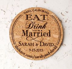 wine wedding cork save the date coasters