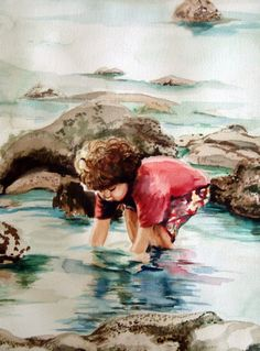 Sunday Afternoon Tidal Pool 12 x 16  Original Signed by bouldnart, $219.00