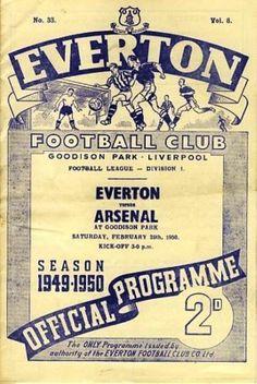 Everton v Arsenal 1949-50 match programme