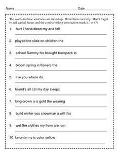 Mixed Up Sentences / Writing Sentences / Grades 2 & 3 / Set 1 by Kelly Connors Grammar Sentences, Punctuation Worksheets, Types Of Sentences, Complex Sentences, English Grammar Worksheets, 2nd Grade Worksheets, Comprehension Worksheets, Grammar Lessons, Writing Worksheets