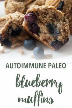 Comforting, fragrant Autoimmune Paleo Muffins feature coconut and arrowroot flour.This recipe is suitable for paleo and autoimmune paleo diets. Autoimmune Paleo Protocol (AIP) recipes are gluten-free, Paleo Autoinmune, Paleo Recipes, Real Food Recipes, Paleo Food, Paleo Dessert, Dairy Free Eggs, Egg Free, Paleo Blueberry Muffins, Desayuno Paleo