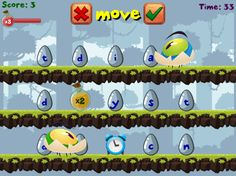 You have 60 seconds to form as many words as you can. But look out, the egg heads will zoom by, changing letters. Play on your own or against a friend. Available on all devices. RoomRecess.com
