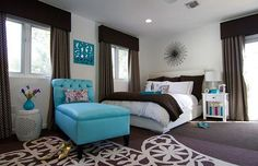 decorating with yellow & aqua' | ... design: white and brown contrasts mixing with aqua blue accents