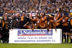 Wolves celebrate promotion to the Premier League after beating Sheffield Utd 3-0 in the Play Off Final at the Millennium Stadium in Cardiff. May 26th 2003