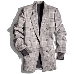 Alexander Wang Black & White Plaid & Leather Blazer ($1,395) ❤ liked on Polyvore featuring outerwear, jackets, blazers, coats, white and black leather jacket, tartan blazer, leather blazers, leather blazer jacket and real leather jackets