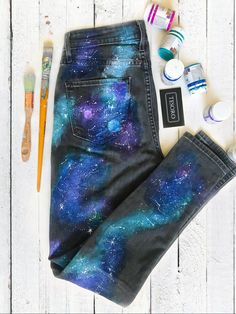 Hand painted jeans/Painted jeans/Hand painted designs/Star space gifts/Galaxy clothes/Custom denim Excited to share this item from my shop: Hand painted jeans/Painted jeans/Hand painted designs/Star space gifts/Ga. Painted Denim Jacket, Painted Jeans, Painted Clothes, Hand Painted, Diy Clothes Paint, Distressed Shorts, Denim Kunst, Galaxy Pants, Space Outfit