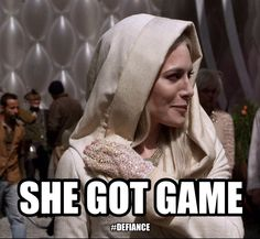 Play on, player. @Marsha Crowe of Defiance: Only one wish for our favorite villainess, @StahmaTarr (and @Jaime Murray): #Defiance