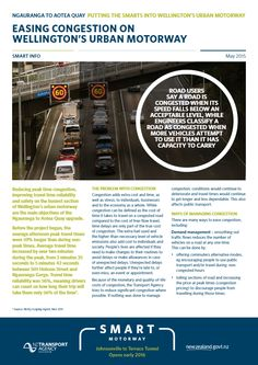 Information sheet about how the Smart Motorway project supports the aim of reducing congestion. Reducing peak time congestion,  improving travel time reliability  and safety on the busiest section  of Wellington's urban motorway  are the main objectives of the  Ngauranga to Aotea Quay upgrade