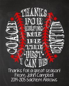 Baseball coach thank you gift. Little League Coach gift | gift ...