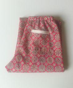 """Mdr. Pantaloni in Liberty """"Helen party"""" red con fascia della tasca in lino avorio."""
