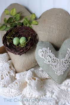 burlap nest & egg pillow