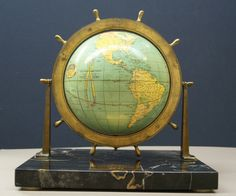 (Peerless 6 Inch) Terrestrial Globe, Sailing Trophy/Marble Base/Ship's Wheel Meridian, Globe Maker: Weber Costello & Co. Old Globe, Globe Art, Chicago Heights, World View, Vintage Maps, Cartography, Three Dimensional, Old World, Display