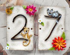 Ceramic House Numbers Two Tiles