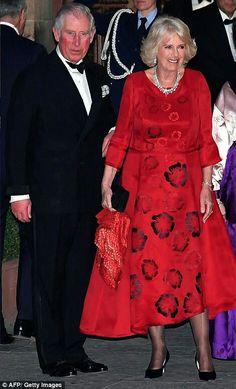 Prince Charles and Camilla Duchess of Cornwall in Florence. Camilla Duchess Of Cornwall, Duchess Of Cambridge, Red Satin Dress, Royal Uk, Camilla Parker Bowles, Herzog, Prince Of Wales, Duke And Duchess, British Royals