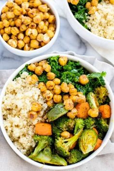 This Vegan Buddha Bowl recipe shows you how to make the best veggie-packed meal. Made with broccoli carrots kale and brussels sprouts plus chickpeas and quinoa this family-friendly simple recipe will keep you coming back for more! Healthy Dinner Recipes, Vegetarian Recipes, Vegan Brussel Sprout Recipes, Simple Vegan Meals, Simple Healthy Meals, Vegan Bowl Recipes, Chickpea Recipes, Chickpea Salad, Lunch Recipes