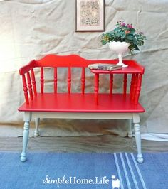 Simple Home Life: The Red and Pale Blue Telephone Table Redoing Furniture, Furniture Projects, Furniture Makeover, Wood Projects, Painted Furniture, Diy Furniture, Furniture Design, Vintage Telephone Table, Red Bench